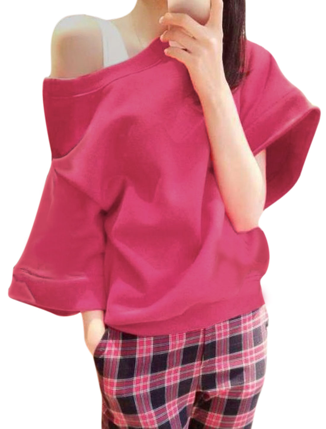 Ladies Zip Closed Shoulder Design Pullover Fuchsia Top XS