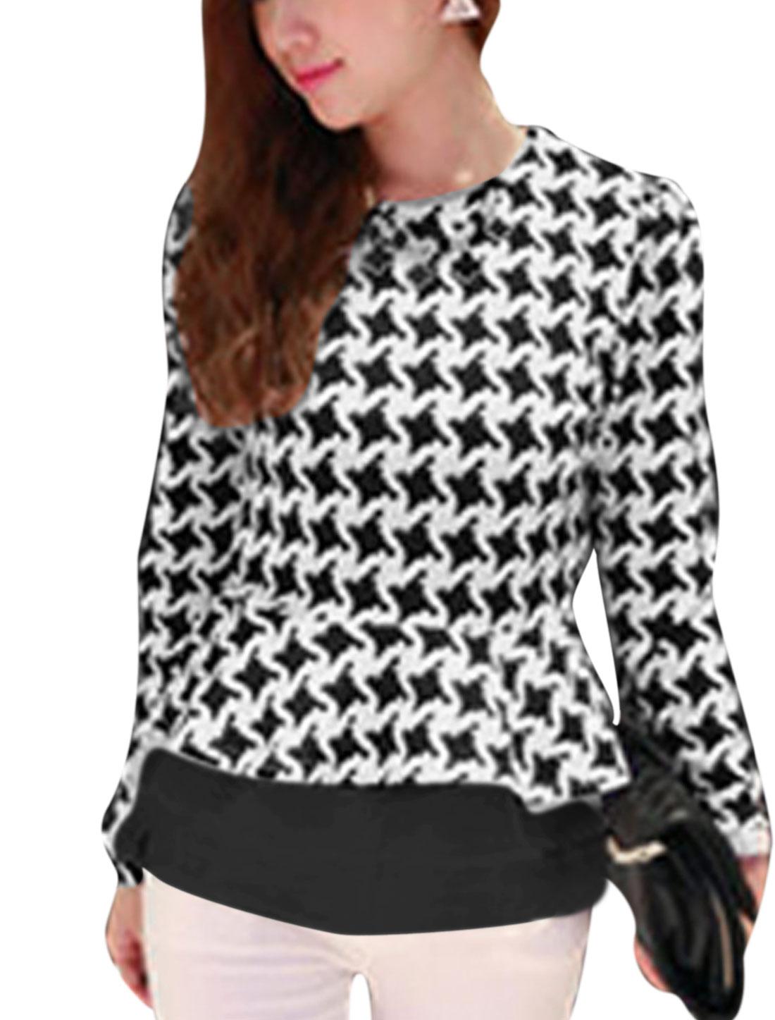 Women Houndstooth Long Sleeves Slim Fit Peplum Top Black S