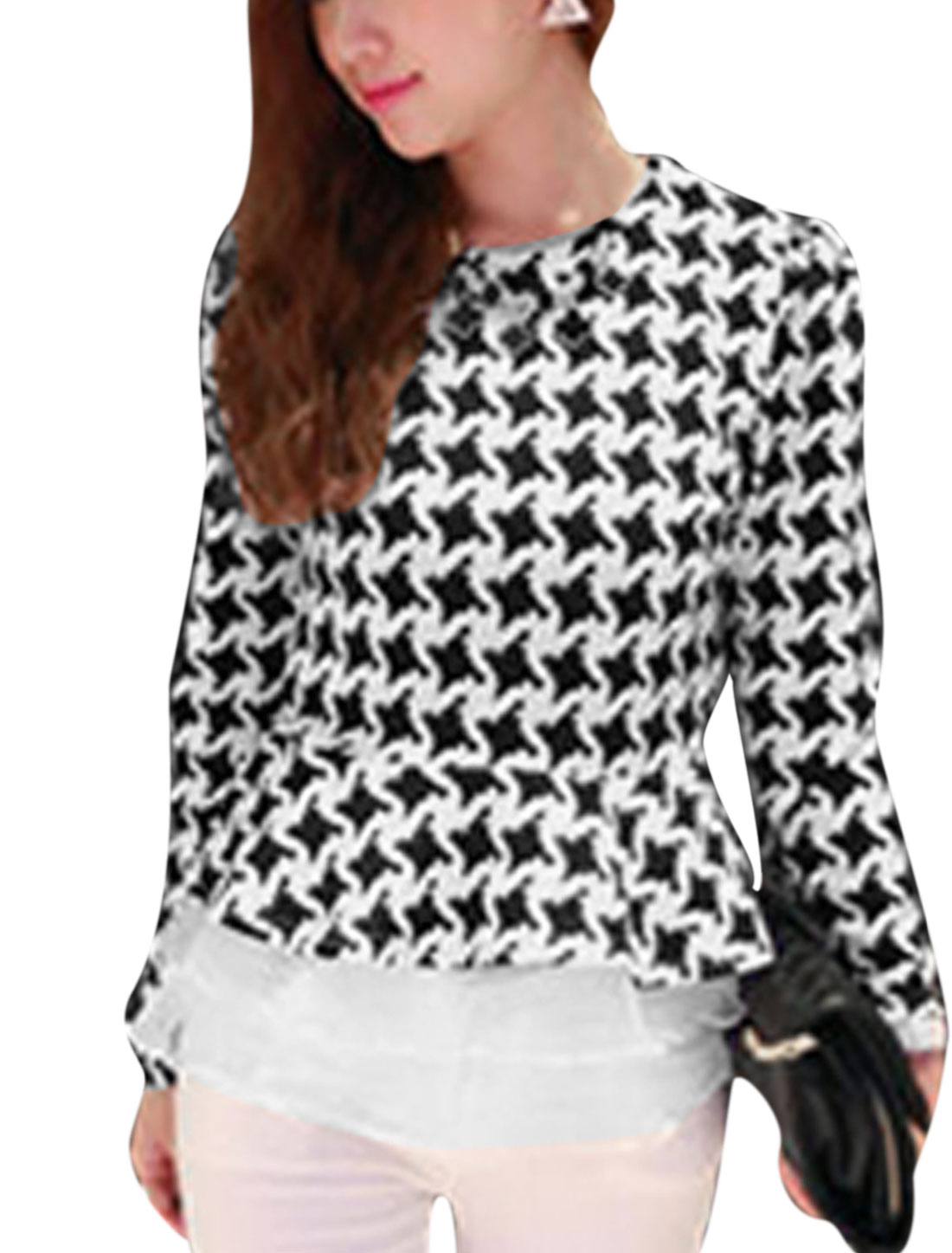 Ladies Organza Splicing Houndstooth Sexy Beige Peplum Top S