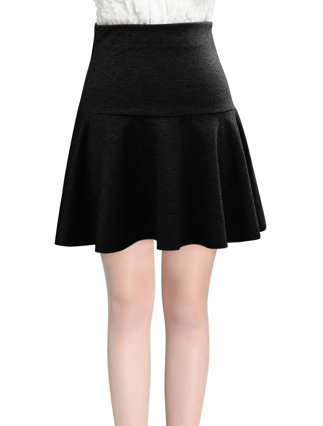 Women Hidden Zipper Back Casual Style Fit w Flare Skirt Black M