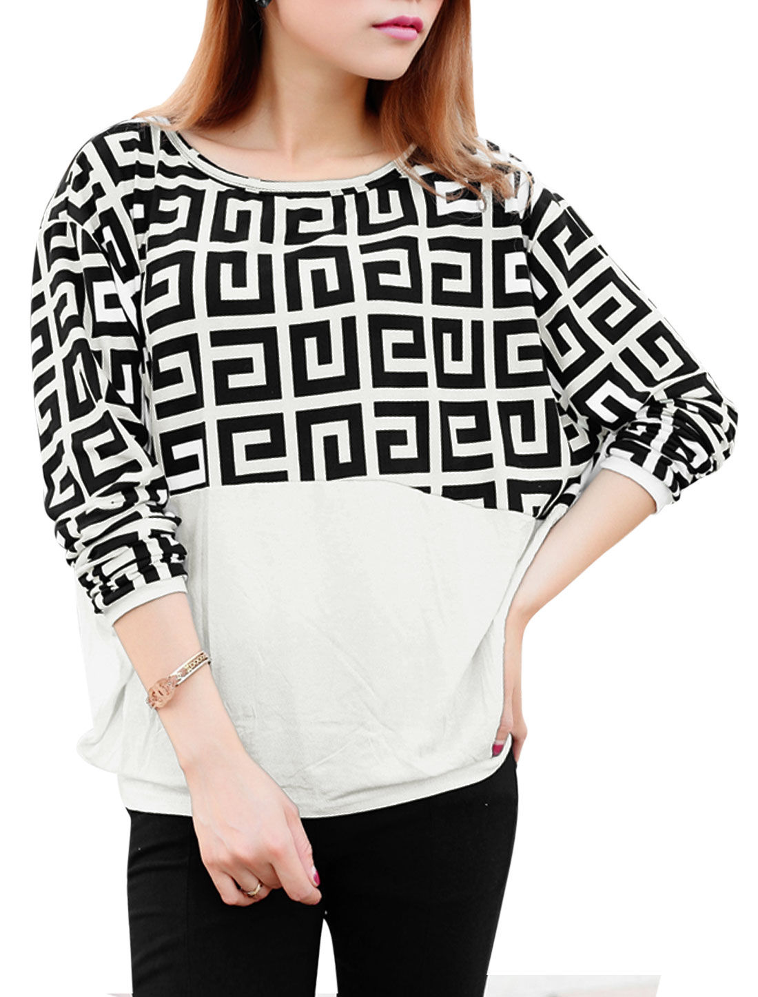 Ladies Round Neck Long Bat Sleeve Geometric Prints Casual Top White Black XS