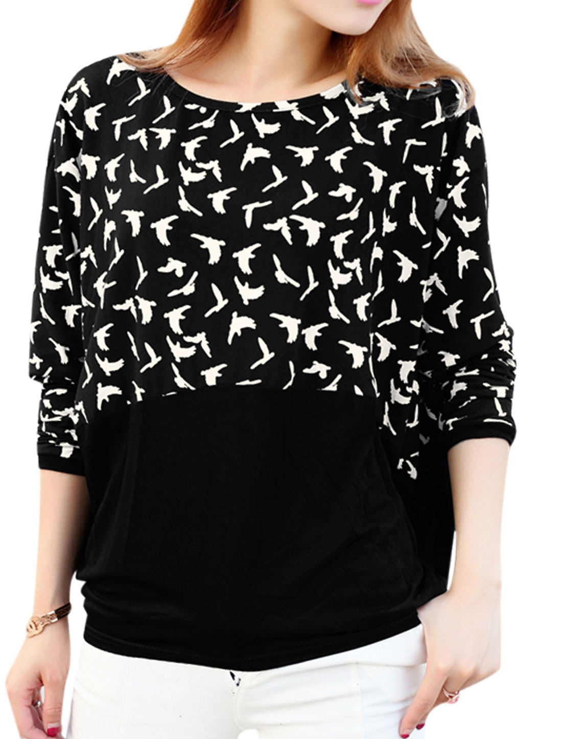 Ladies Black Batwing Sleeves Round Neck Pullover Casual Top XS