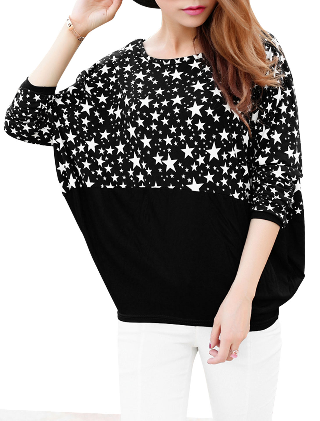 Ladies Stars Print Patched Design Contrast Color Loose Fit Top Black XS