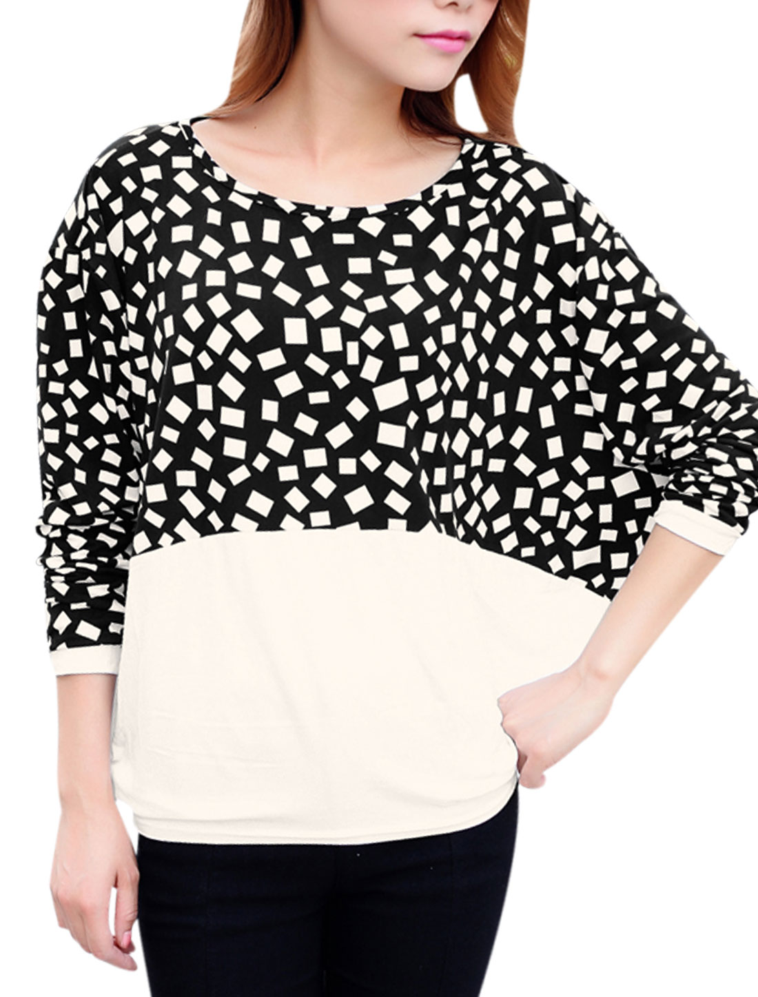 Woman Geometric Print Patched Design Contrast Color Loose Fit Top White Black XS