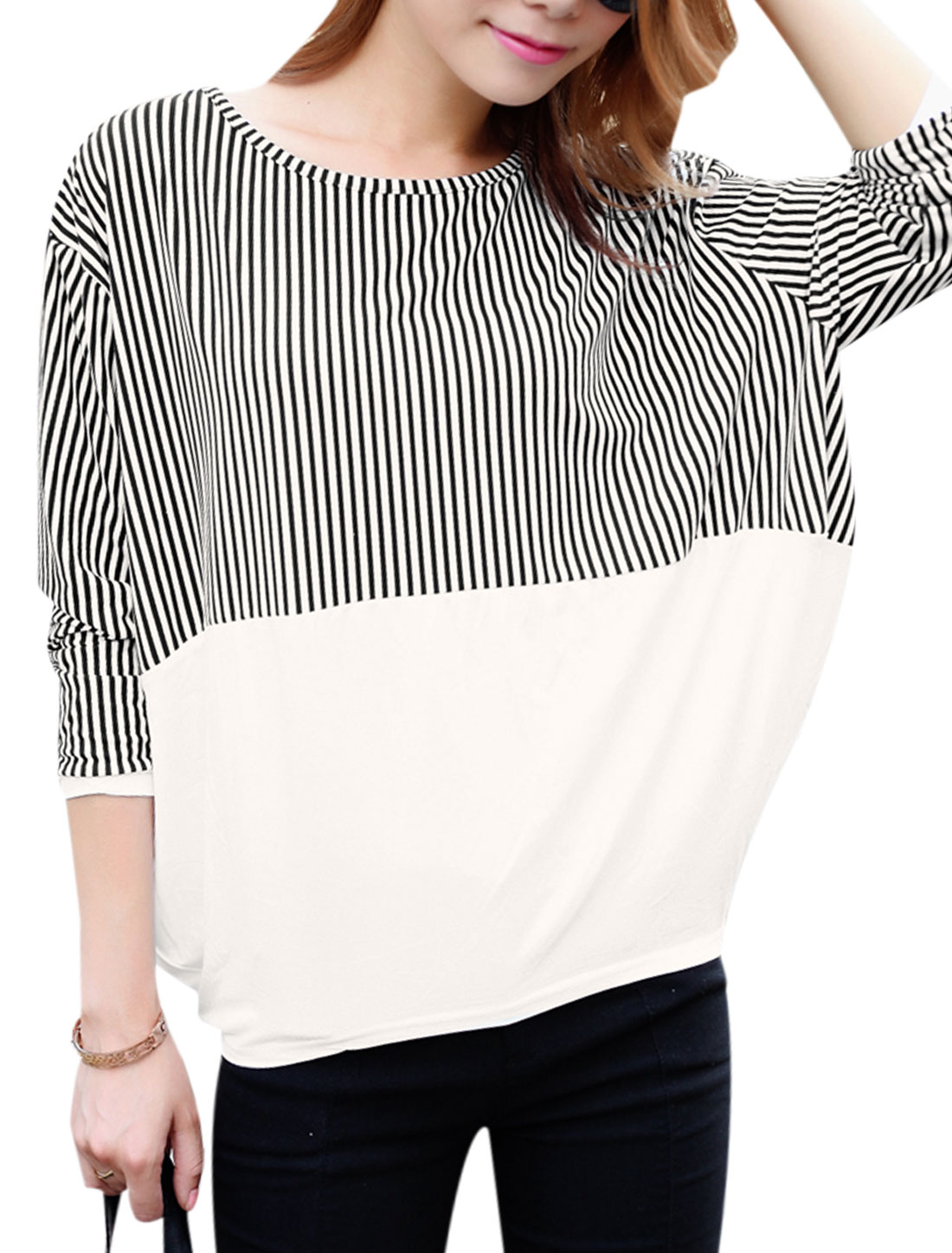 Women Vertical Stripes Patched Design Contrast Color Loose Fit Top White Black XS