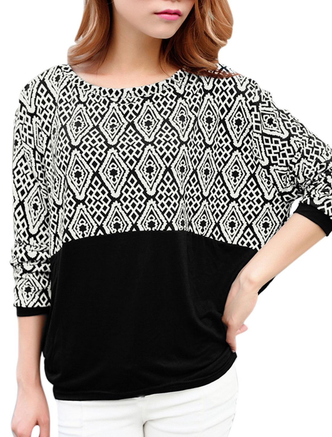 Women Argyle Pattern Long Batwing Sleeves Casual Shirt Black XS