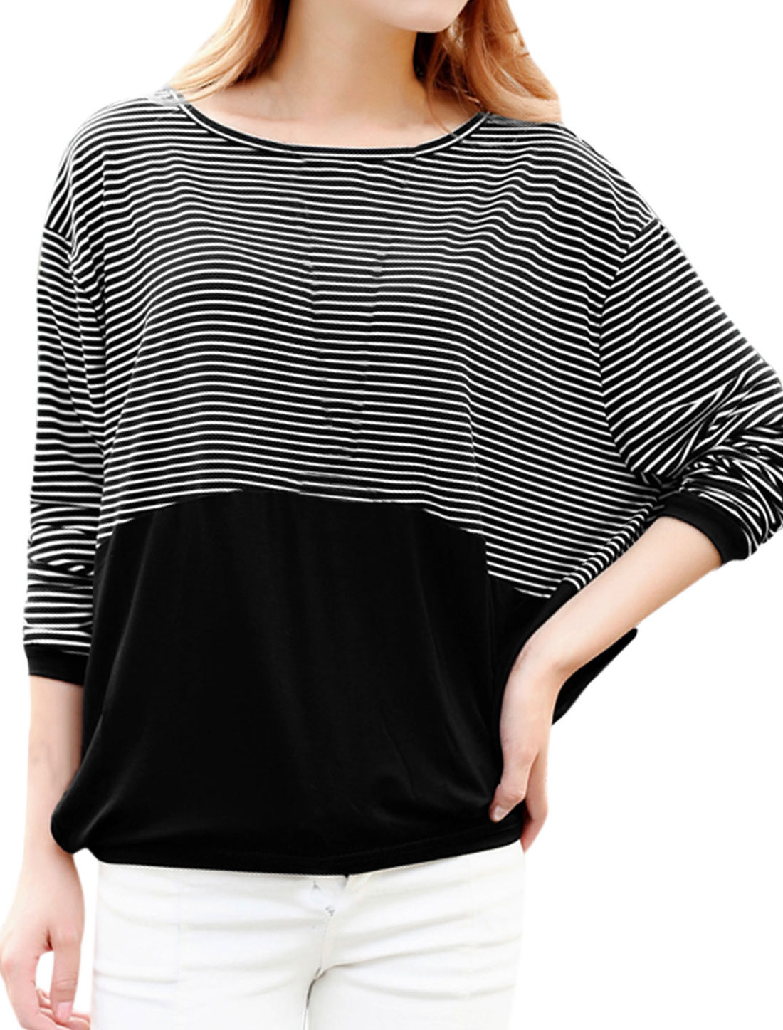 Lady Stripes Patched Design Contrast Color Loose Fit Top Black XS
