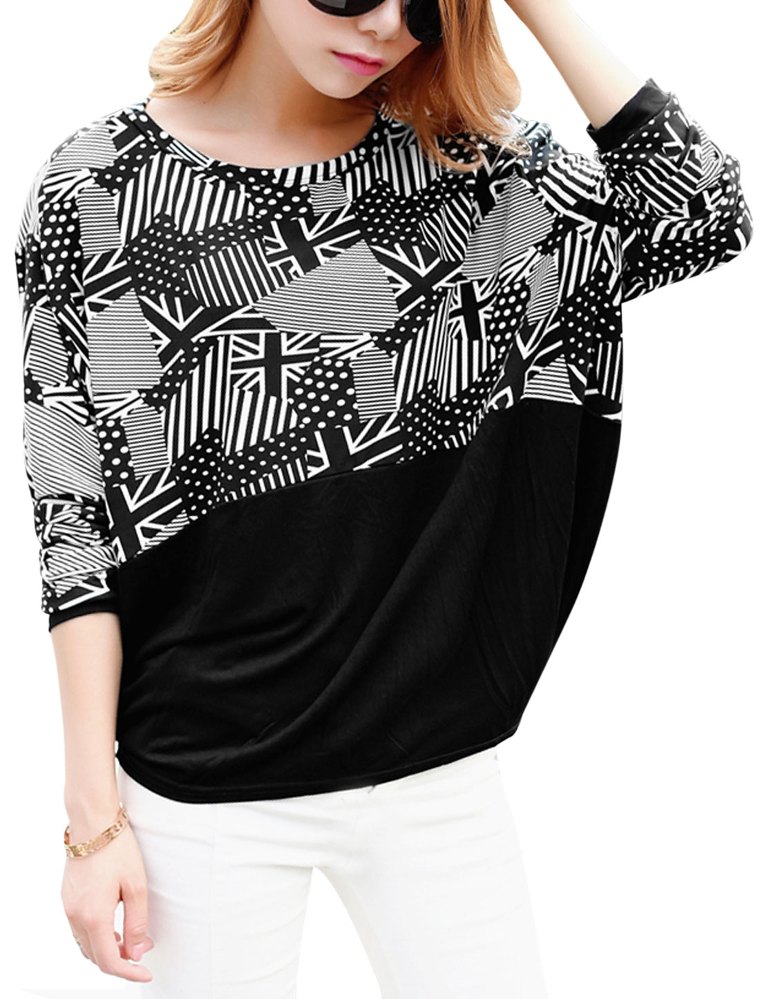 Lady Round Neck Bat Sleeve Silpover Casual Top Black XS