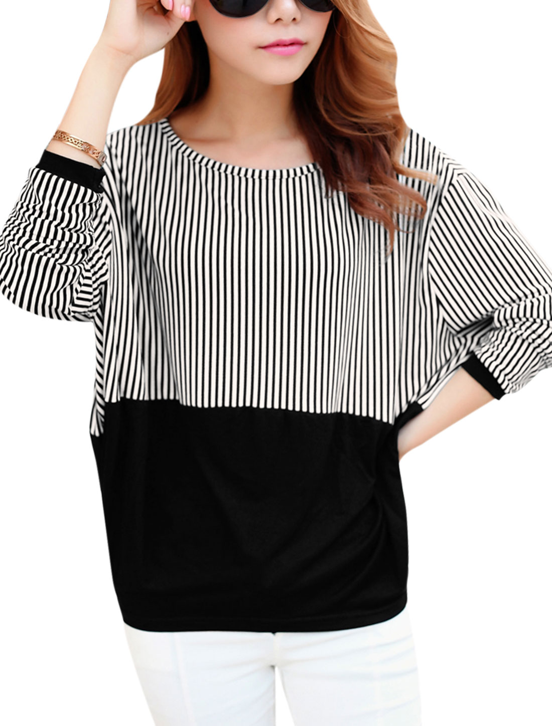 Lady Round Neck Bar Striped Long Batwing Sleeve Casual T-Shirt Black White XS
