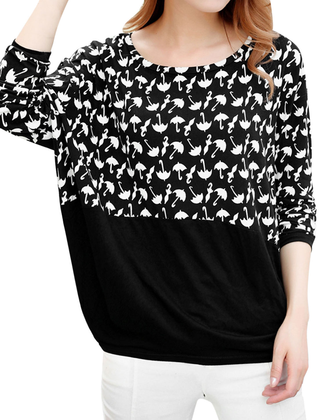 Women Umbrella Pattern 3/4 Batwing Sleeves Loose Shirt Black XS
