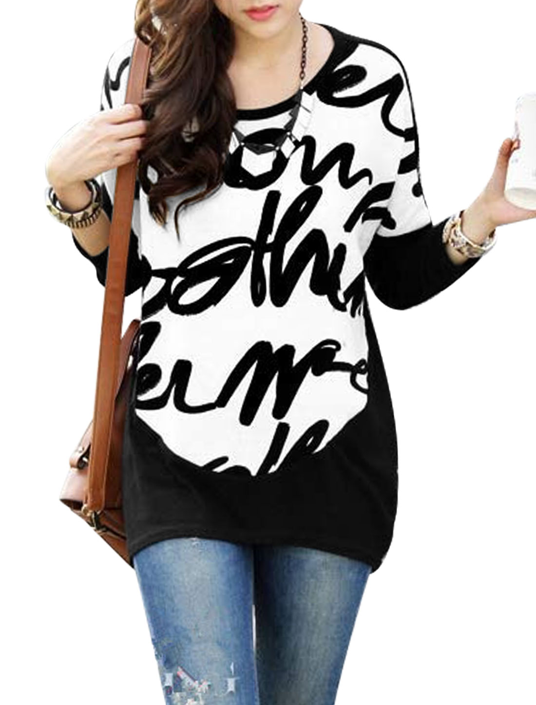 Ladies Black White Batwing Sleeves Round Neck Pullover Fashion Tunic Top S