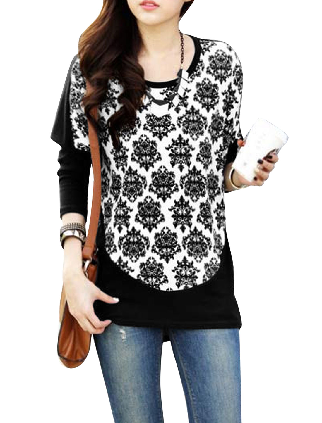 Ladies Black White Round Neck Bat sleeves Pullover Jacquard Pattern Tunic Top S