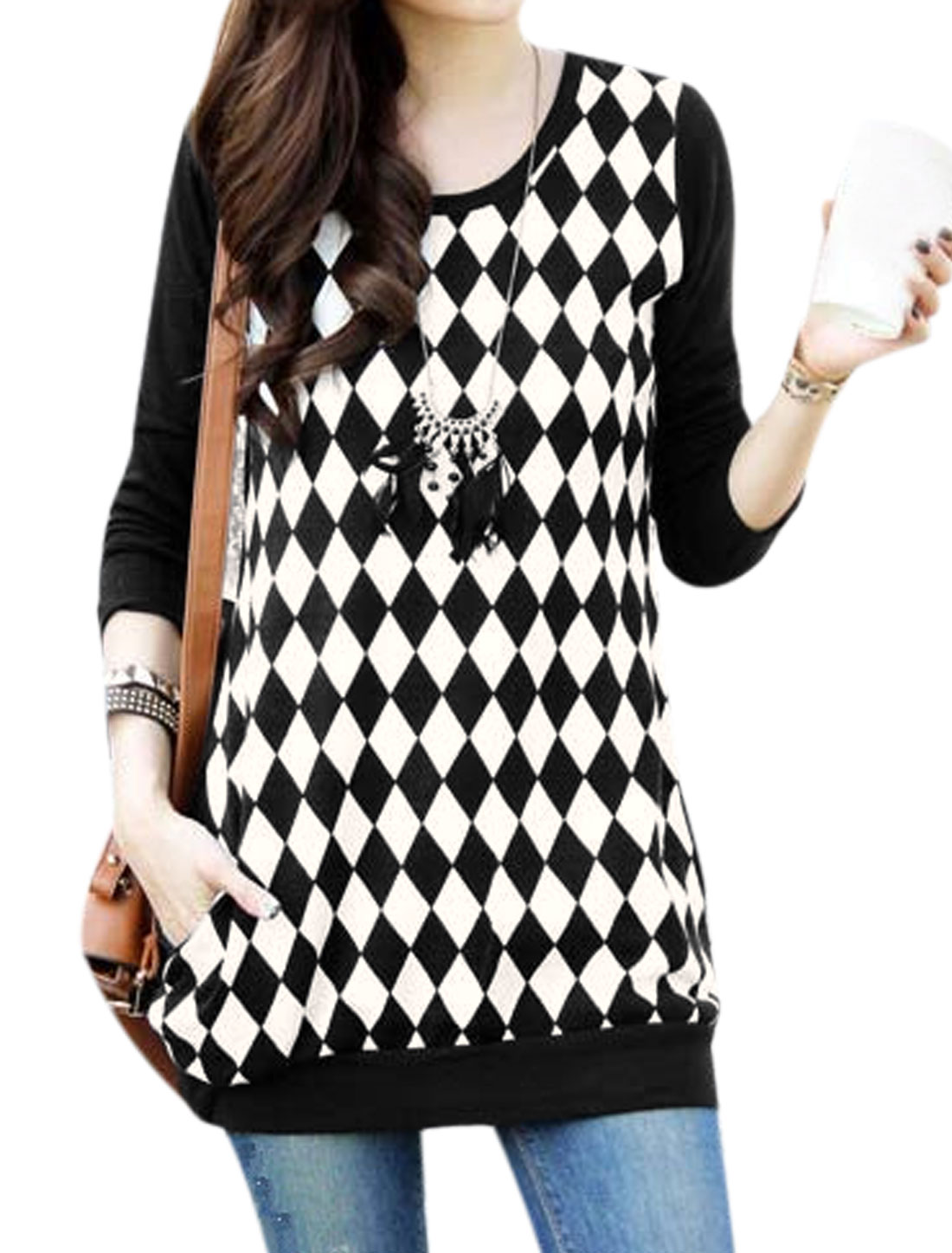 Ladies Black White Long Sleeves Round Neck Pullover Argyle Pattern Casual Tunic Top XS