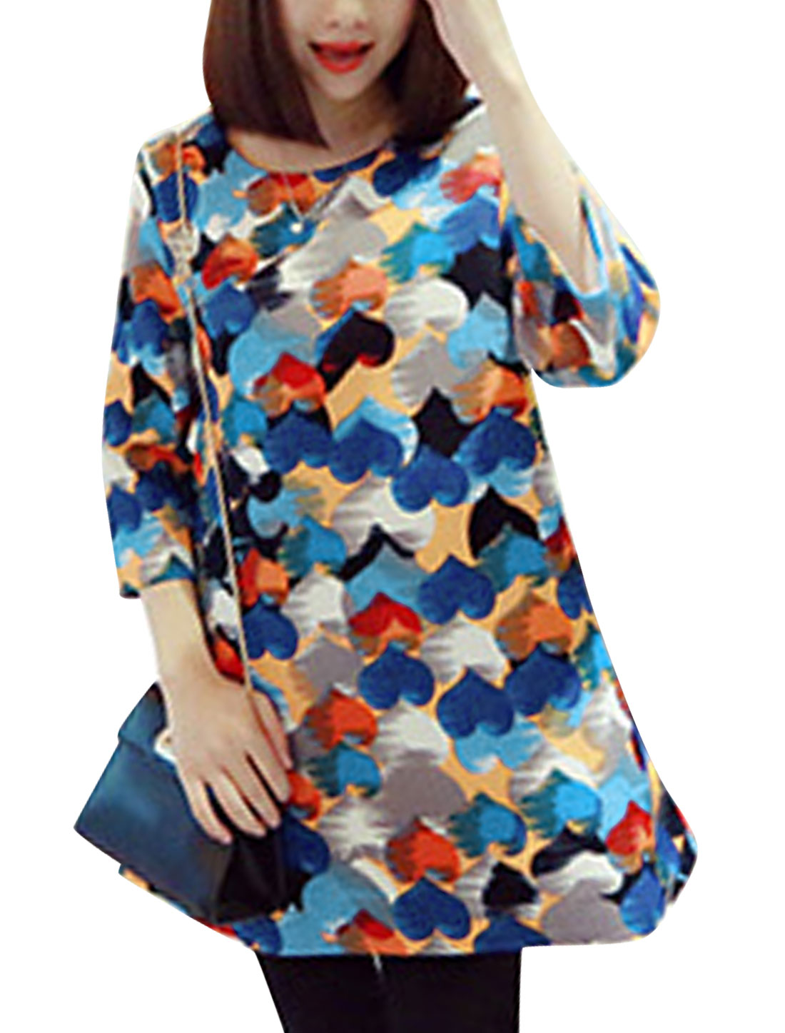 Ladies Hearts Pattern 3/4 Sleeve Leisure Tunic Top Multi Color XS