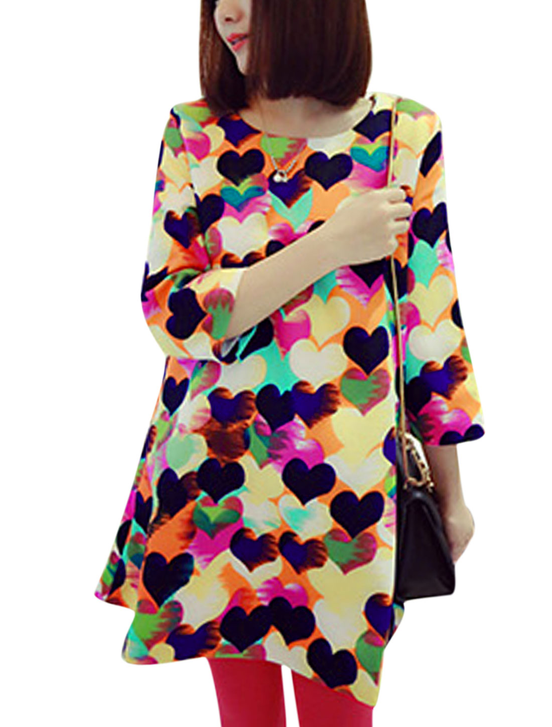 Lady Round Neck 3/4 Sleeve Hearts Pattern Tunic Top Multi Color XS