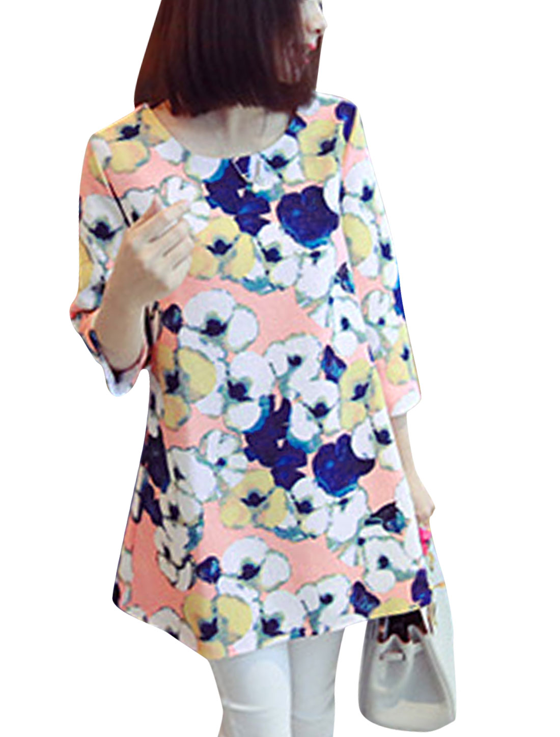 Lady Round Neck 3/4 Sleeve Floral Prints Tunic Top Light Pink Multi Color XS