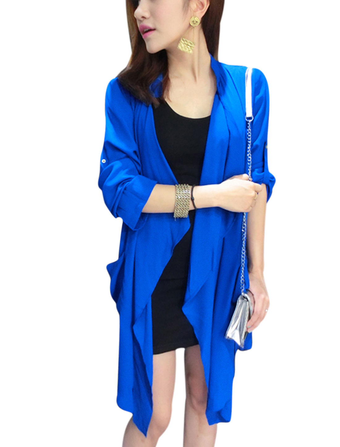 Women Front Opening Double Front Pockets Tunic Cardigan Royal Blue S