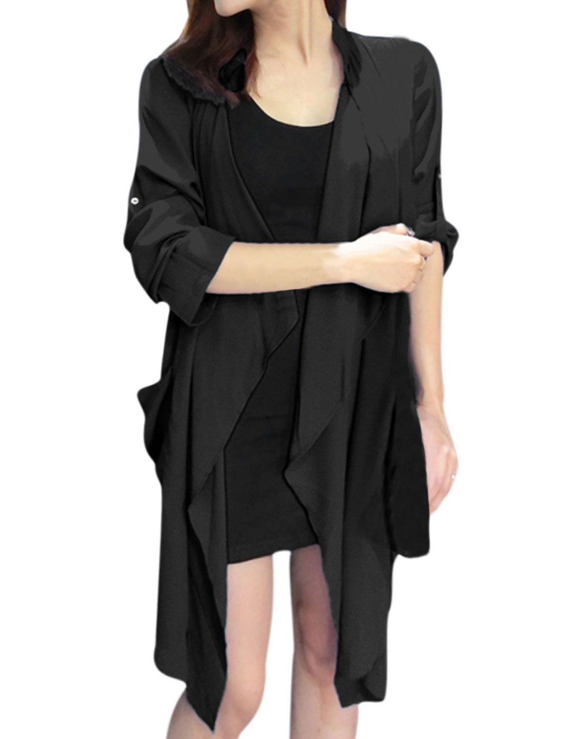 Lady Roll Up Sleeve Open Front Leisure Tunic Cardigan Black S