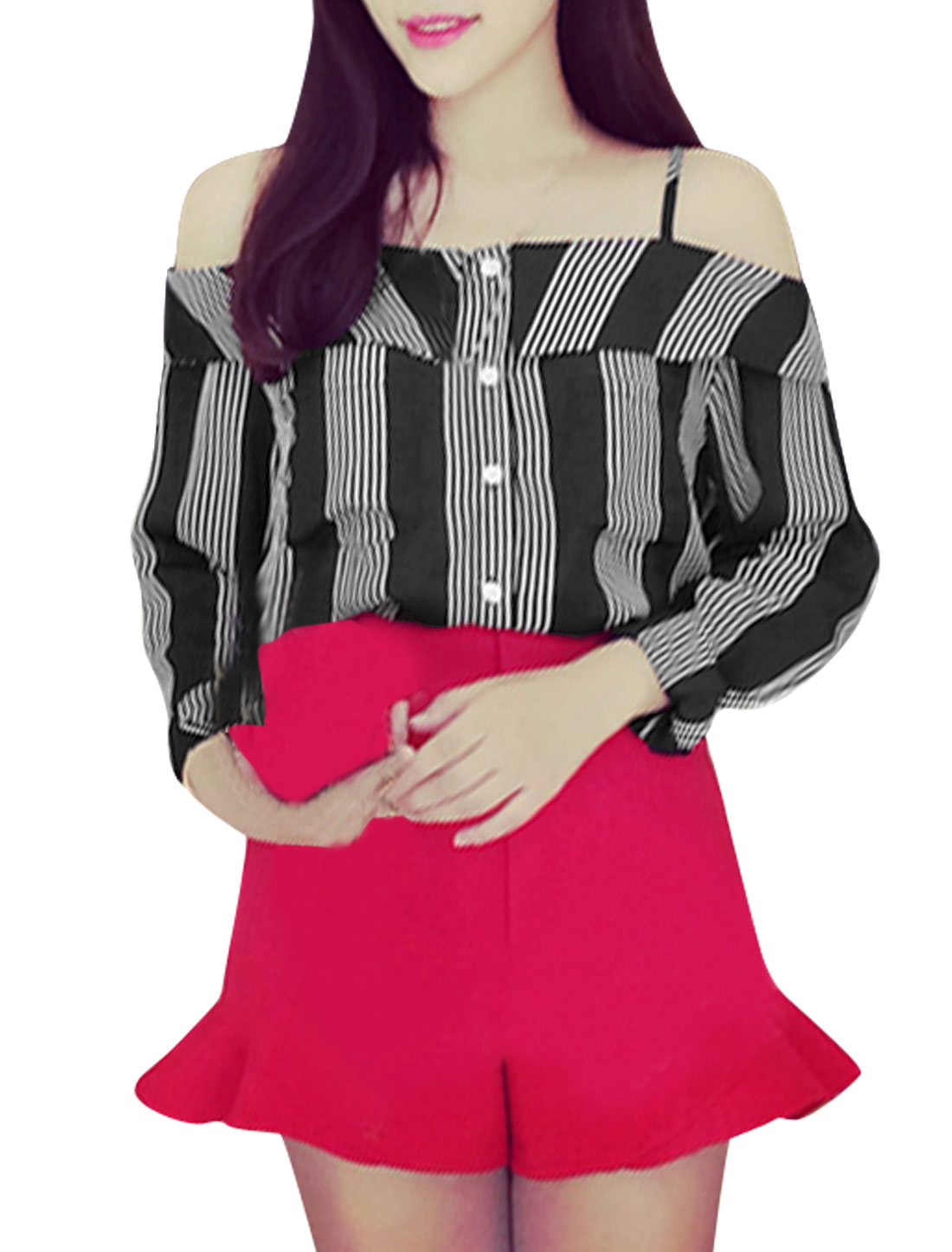 Lady Spaghetti Straps Vertical Stripes Pattern Casual Chiffon Shirt Black S