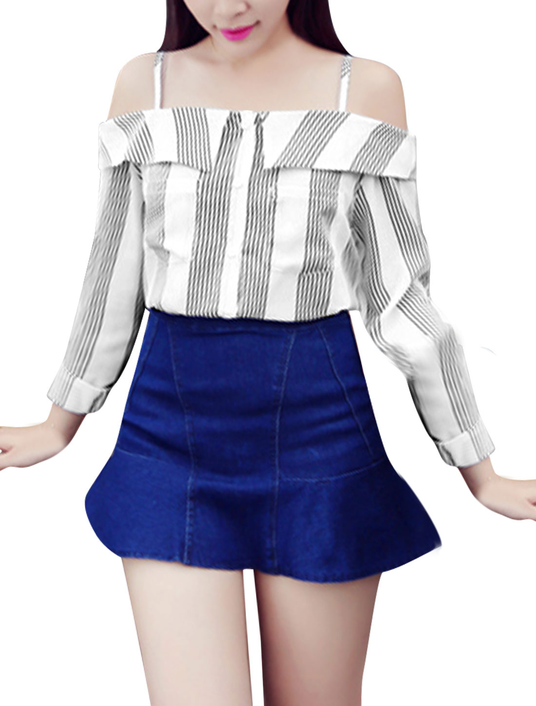 Lady Buttons Closed Vertical Stripes Pattern Casual Chiffon Shirt White S