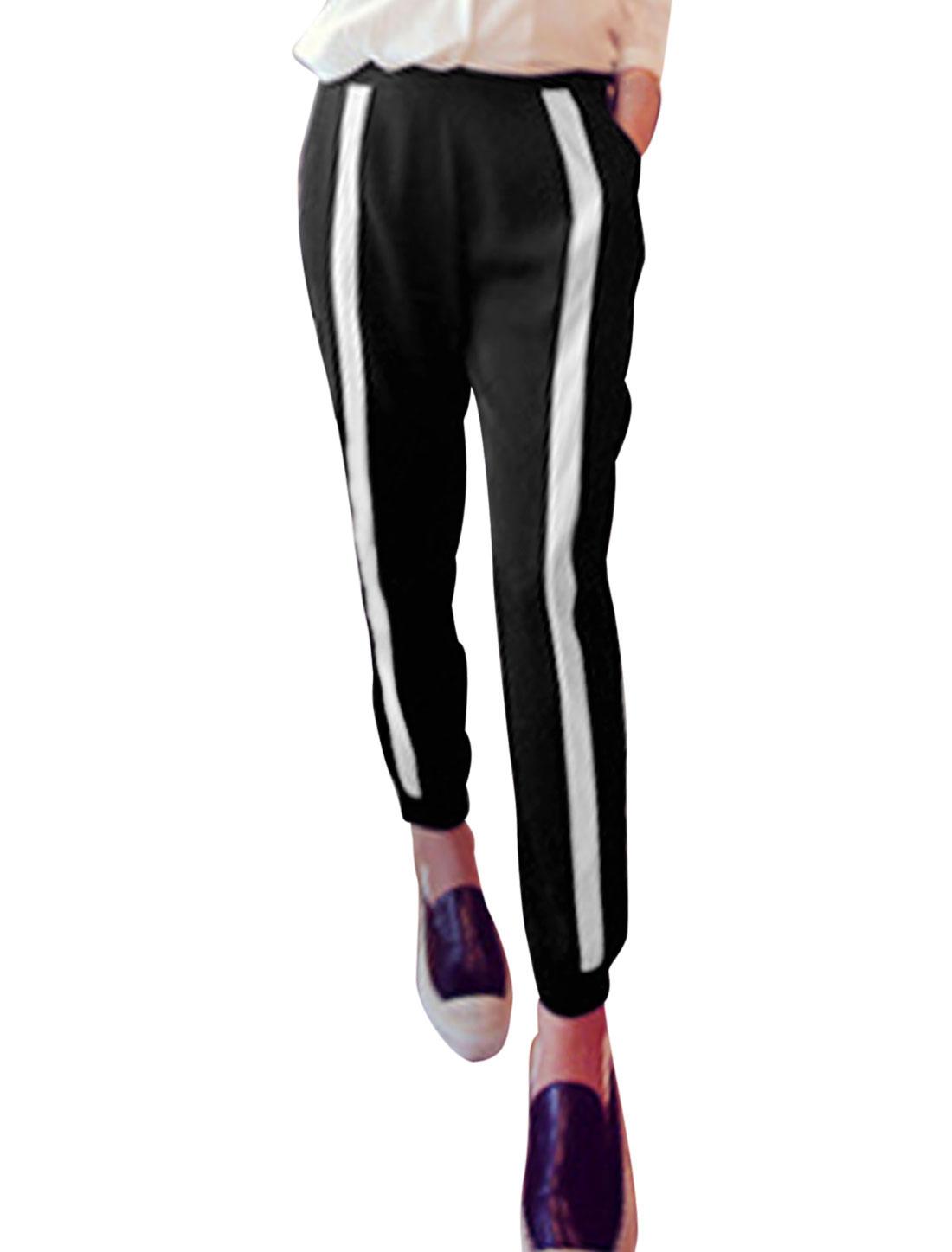 Women Stripes Elastic Waist Double Slant Pockets Cropped Pants Black White XS