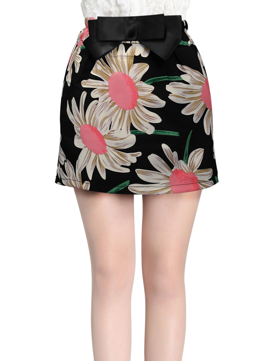 Lady Flower Pattern Side Pockets Bowknot Accent Summer Fit Mini Skirt Black XS