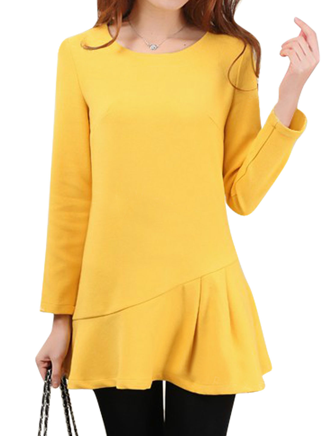 Ladies Yellow Long Sleeves Round Neck Pullover Slim Fit Tunic Top XS
