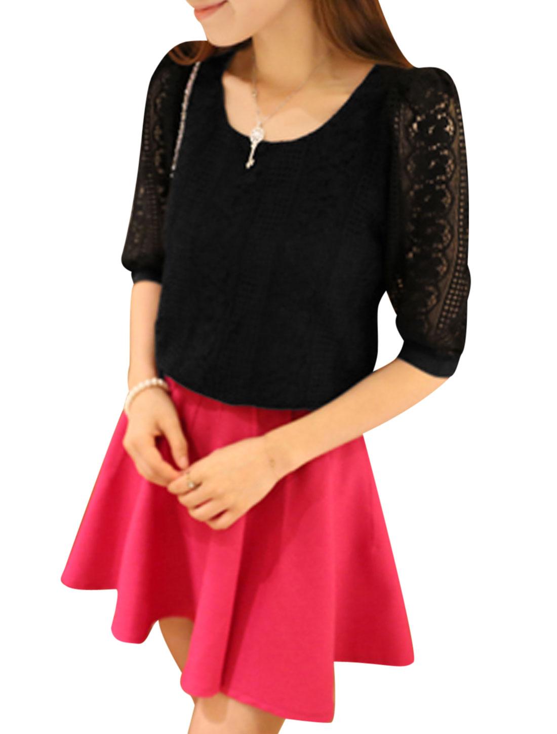Ladies Crochet Round Neck Pullover Leisure Shirt Black S