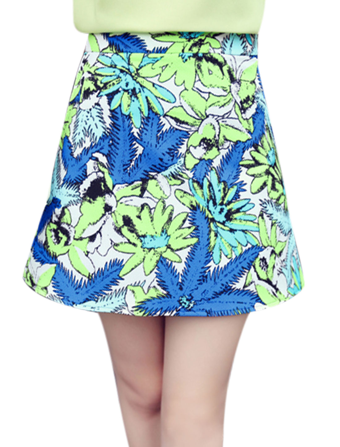 Lady Floral Prints High Waisted Sexy A-Line Skirt Blue Green Yellow M