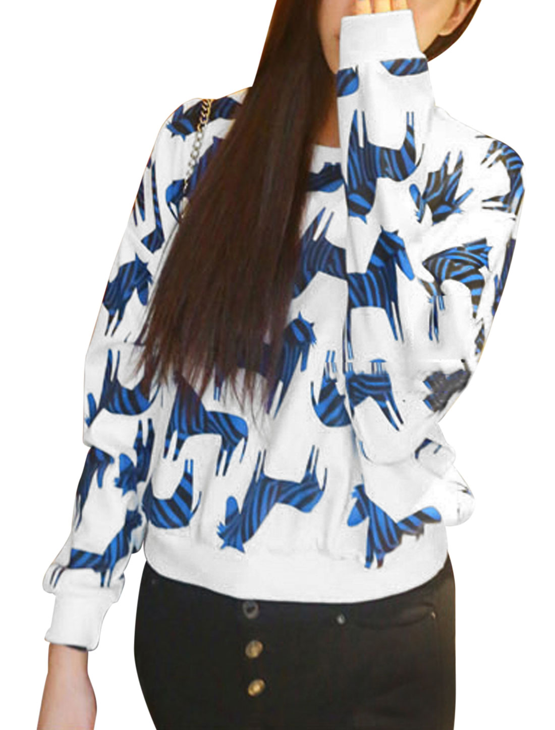 Lady Round Neck Zebra Pattern Slipover Casual Top White Blue XS