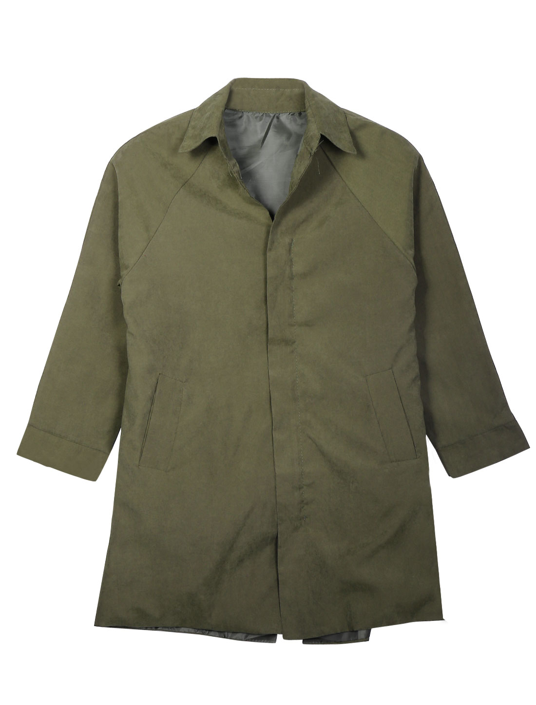 Lady Turndown Collar Long Raglan Sleeves Full Zipper Stylish Jacket Army Green S