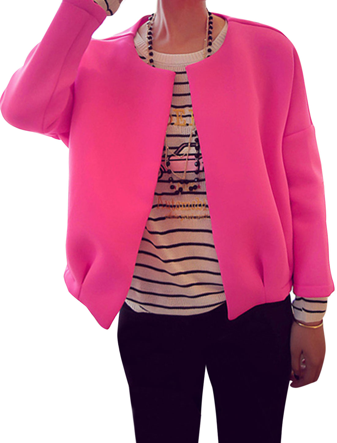 Ladies Round Neck Front Opening Fashion Design Jacket Fuchsia XS