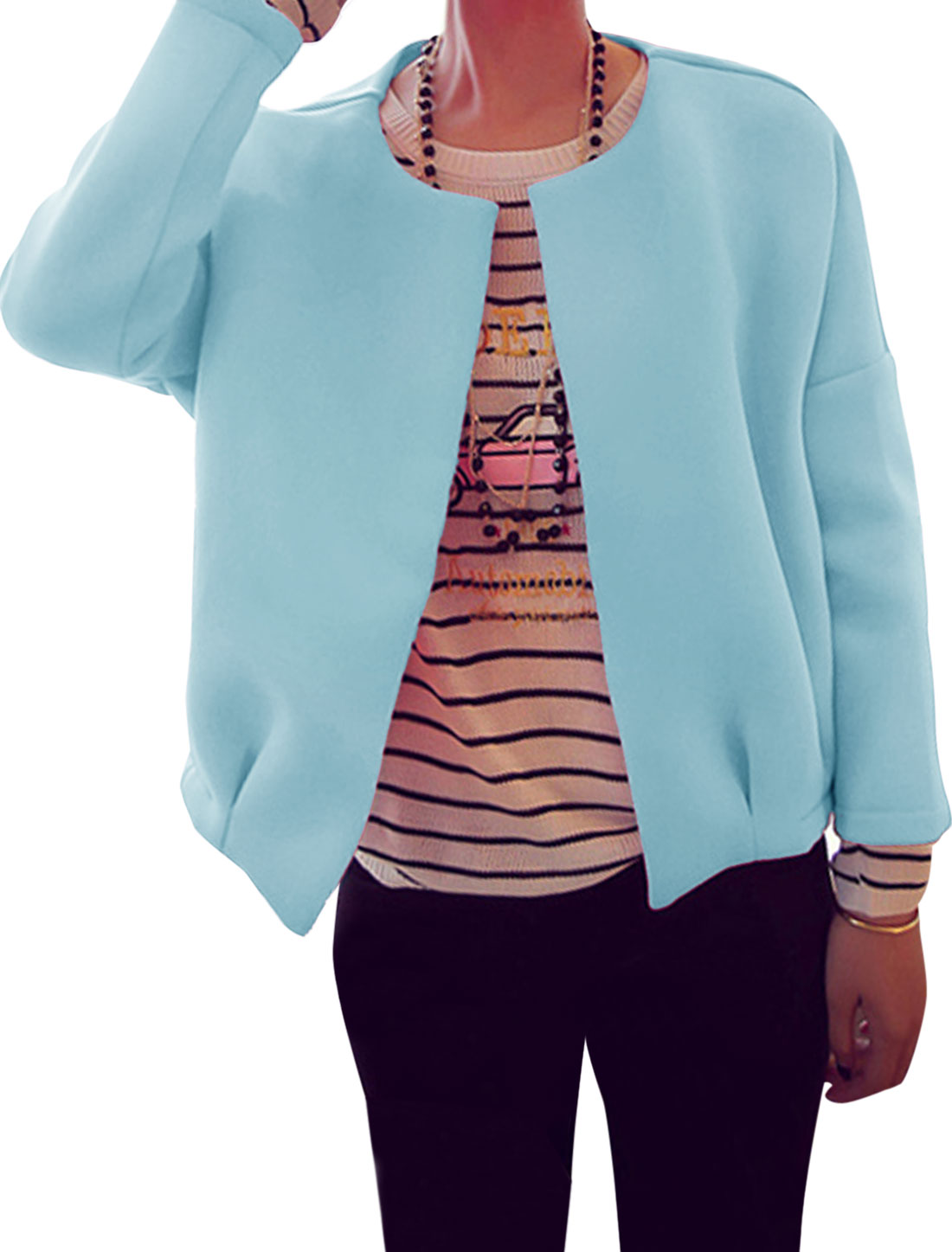 Ladies Long Sleeve Open Front Leisure Jacket Sky Blue XS