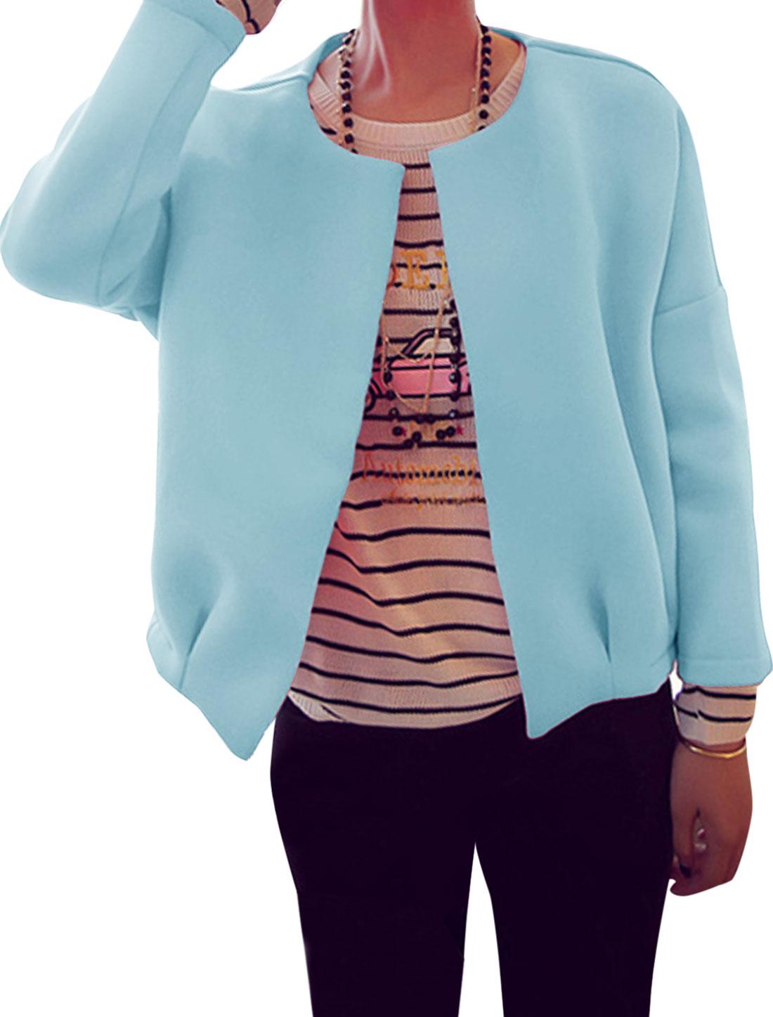 Ladies Long Sleeve Open Front Leisure Jacket Sky Blue XS