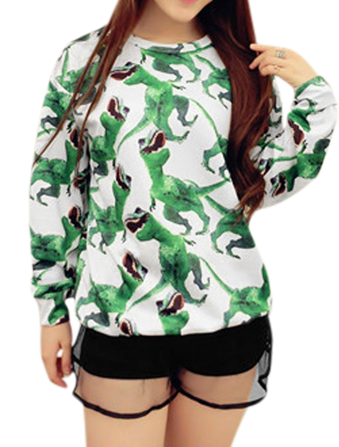 Lady Dinosaur Pattern Long Batwing Sleeve Leisure T-Shirt White Green XS