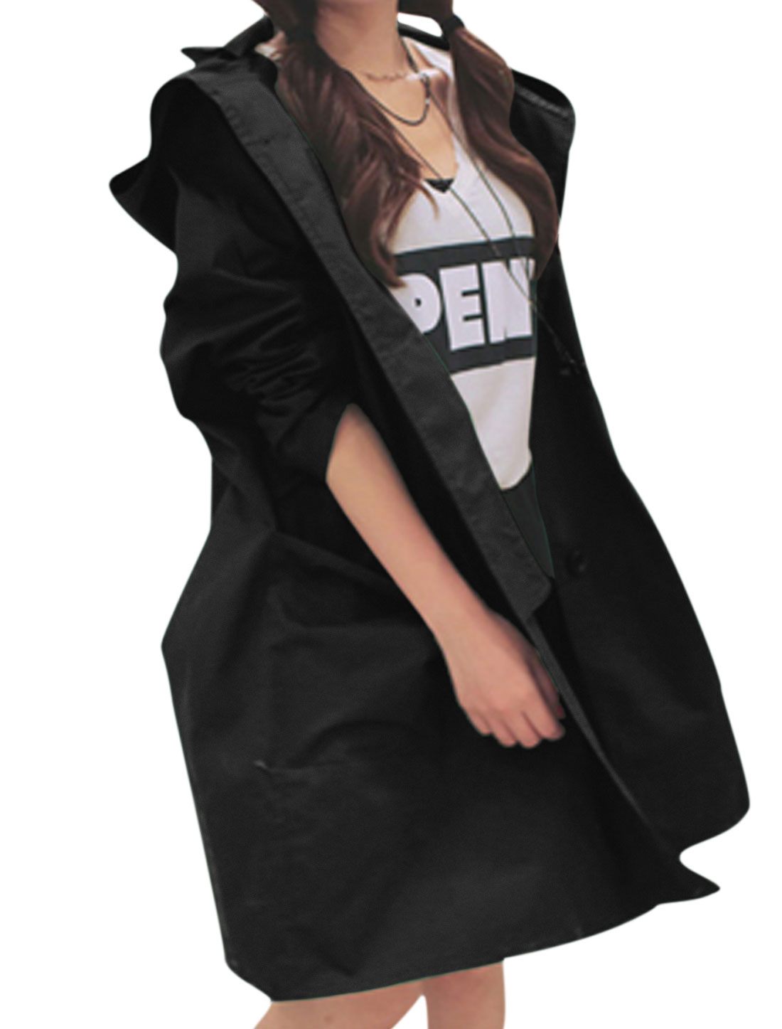 Ladies Black Long Sleeves Single Breasted Front Pockets Trench Jacket S