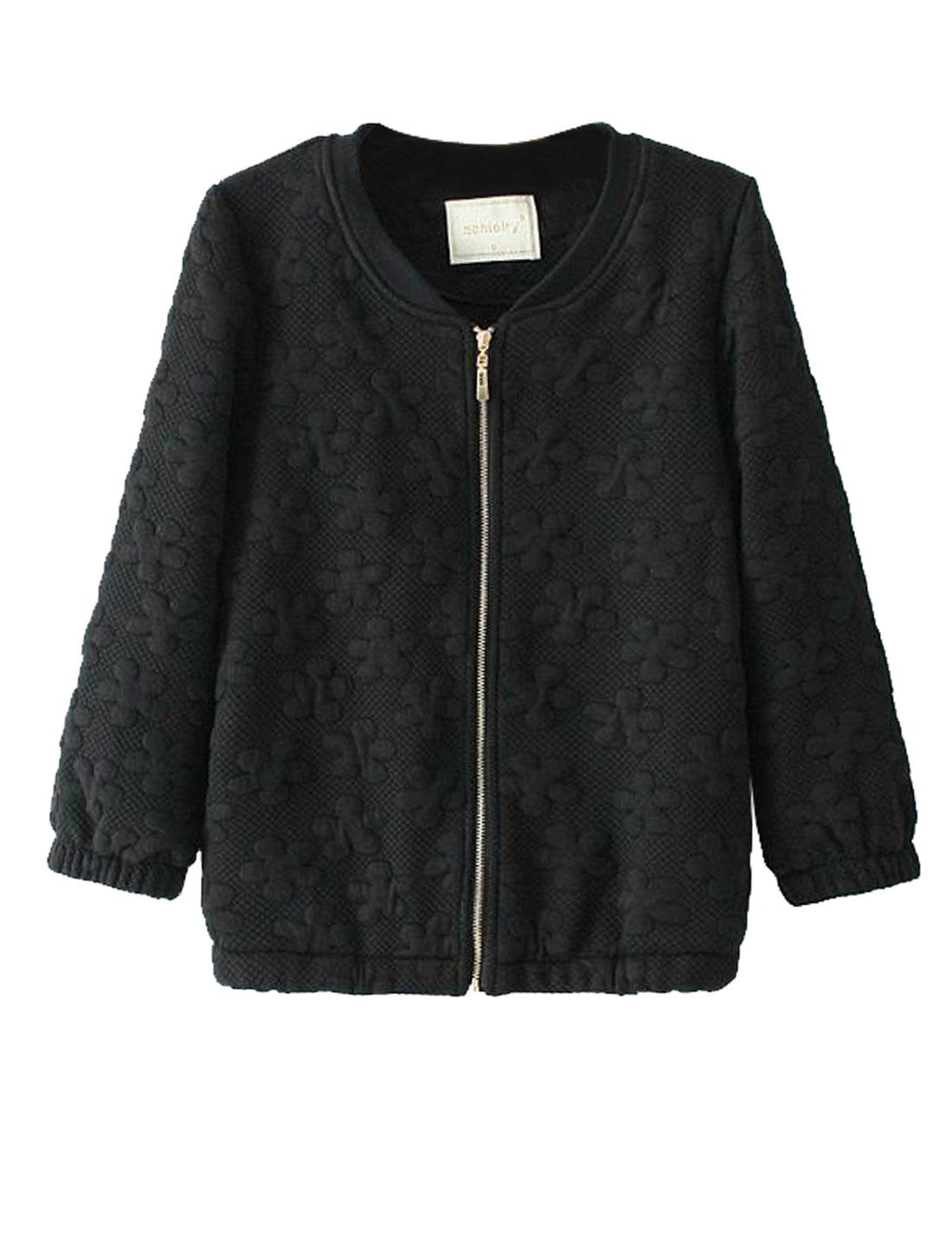Ladies Stand Collar Three Quarter Sleeves Leisure Jacket Black S