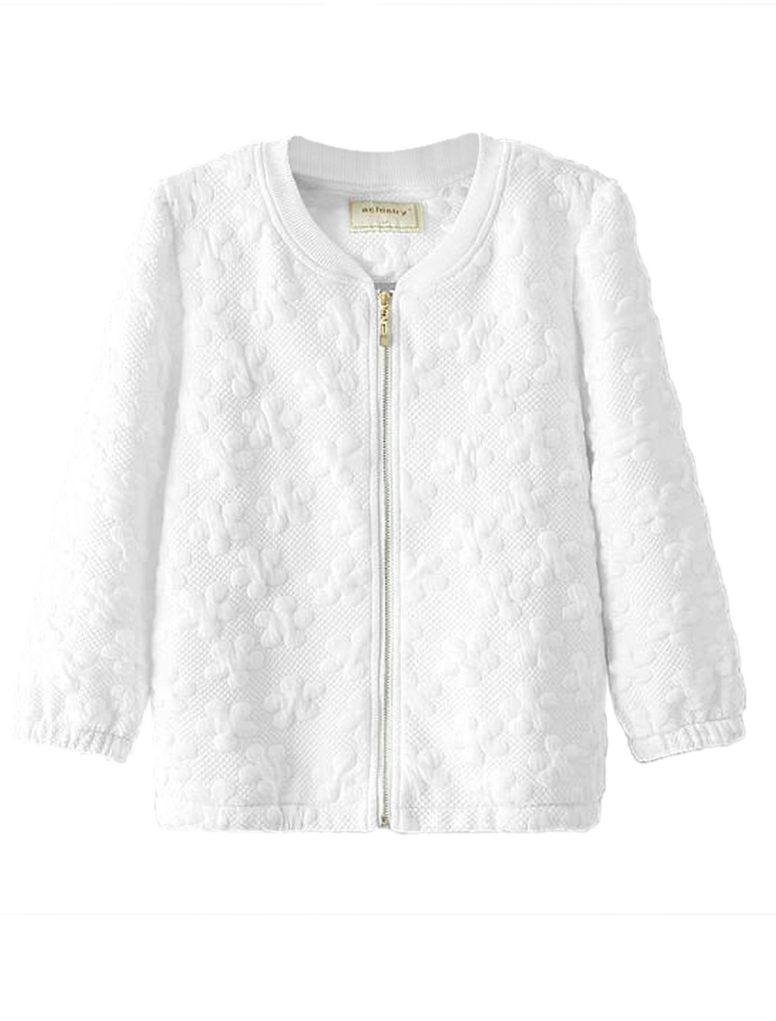 Ladies Stand Collar Zip Up Floral Design Stylish Jacket White S