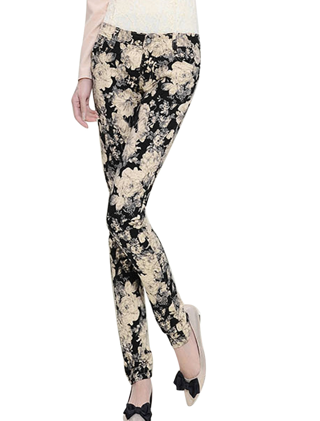 Ladies Beige Black Mid Rise Zip Fly Belt Loop Floral Pritns Tapered Pants XS