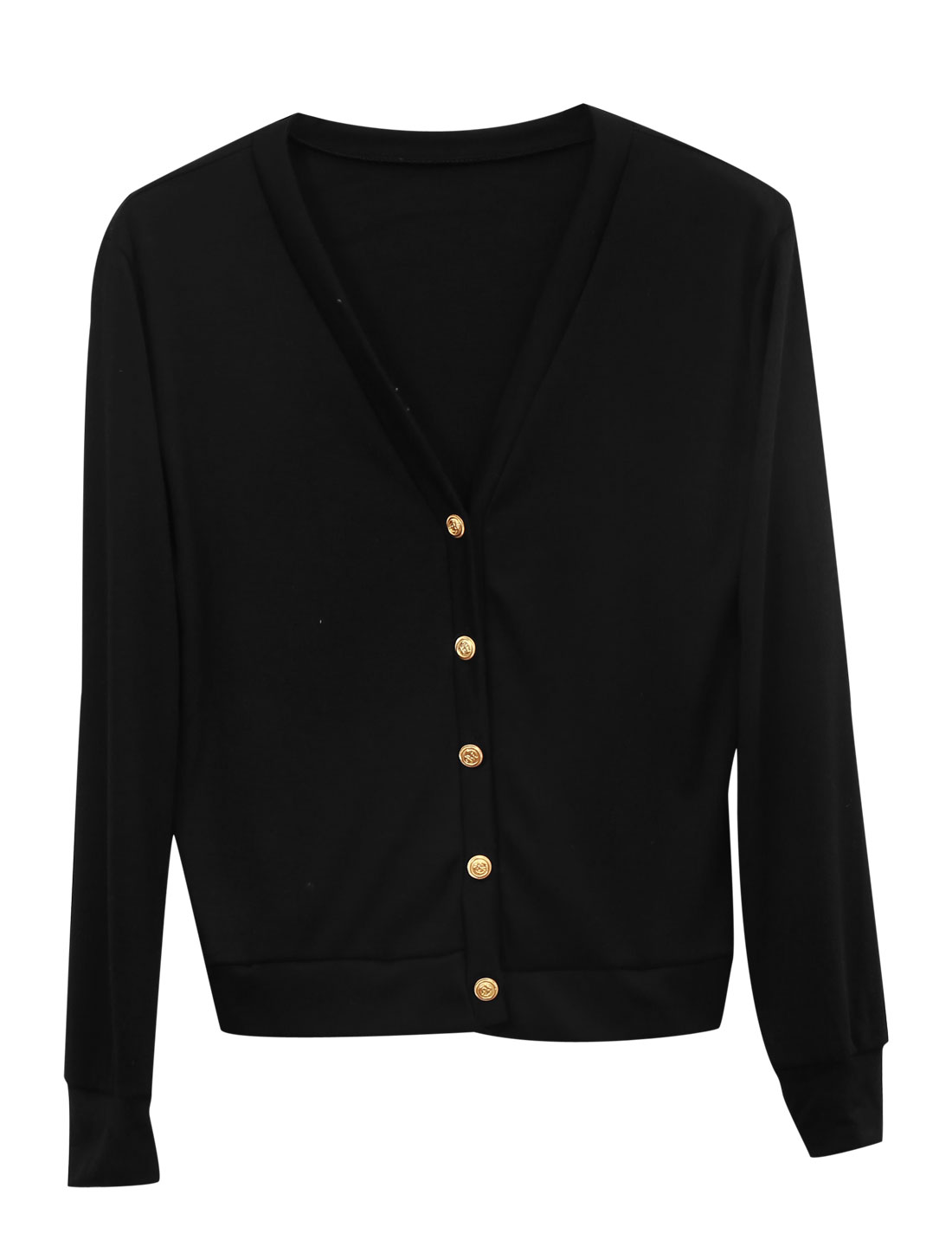 Lady Long Sleeve Single Breasted Soft Casual Cardigan Black XS