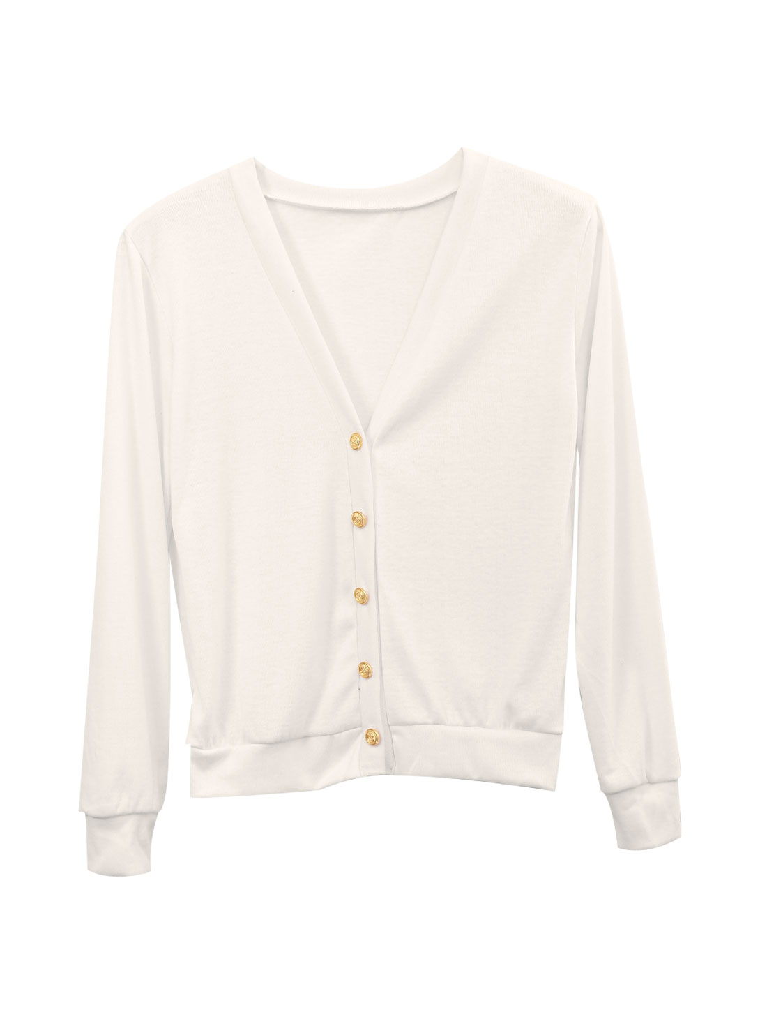 New Style Button Closure Front Long Sleeve Casual Cardigan for Lady White XS