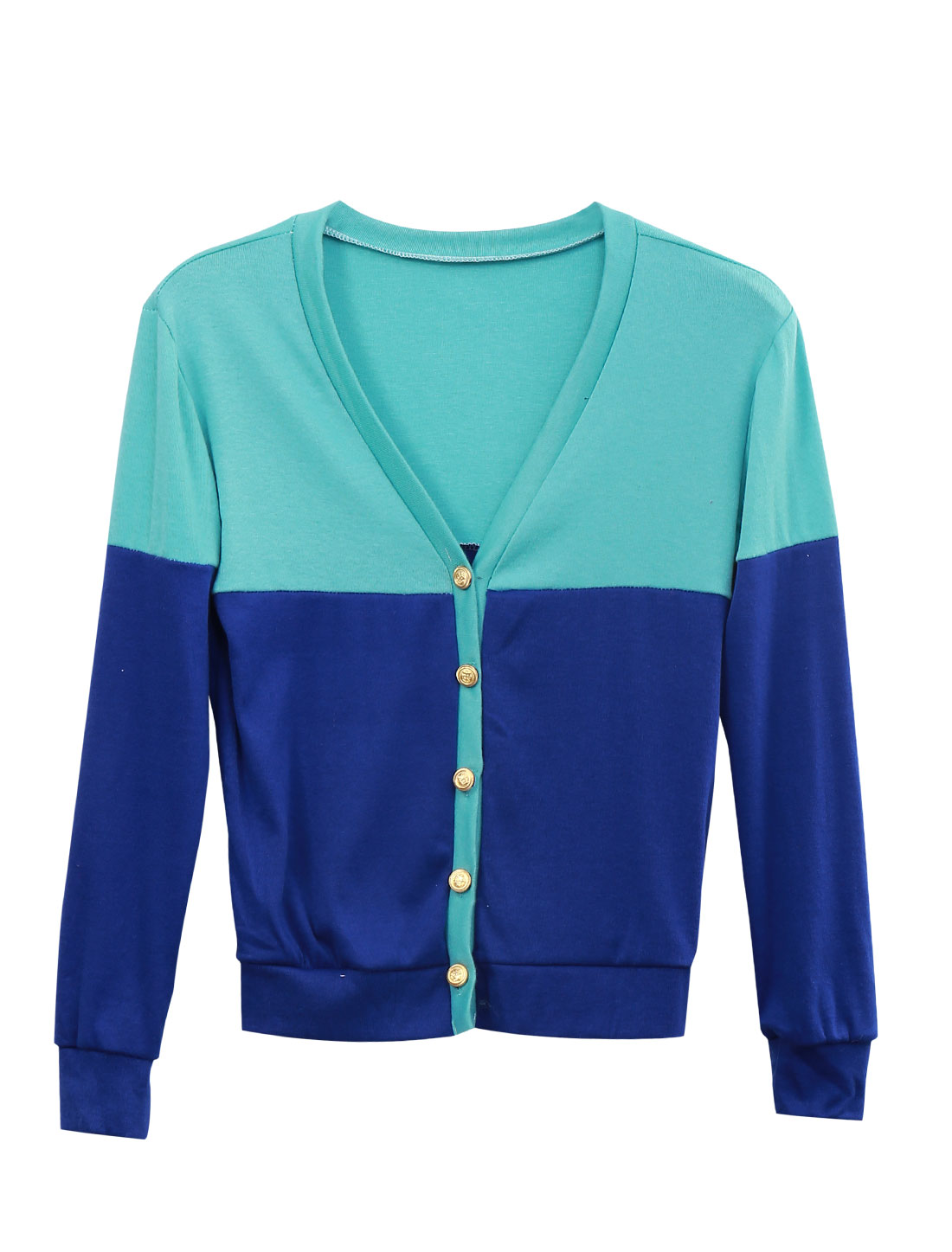 Lady Color Block Single Breasted Fashion Casual Cardigan Royal Blue Baby Blue XS