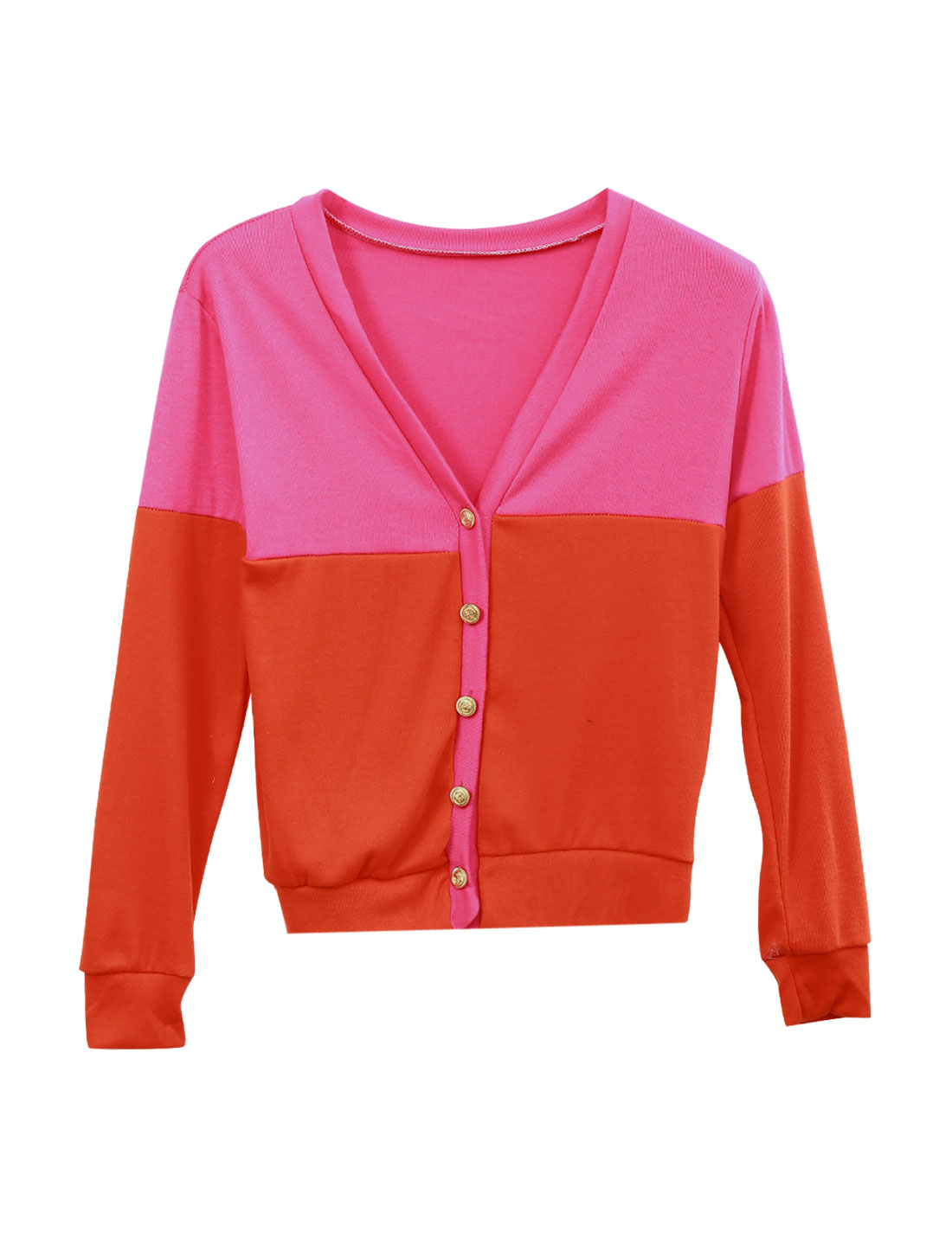 Lady Color Block Stylish Soft Casual Cardigan Deep Pink Orange XS