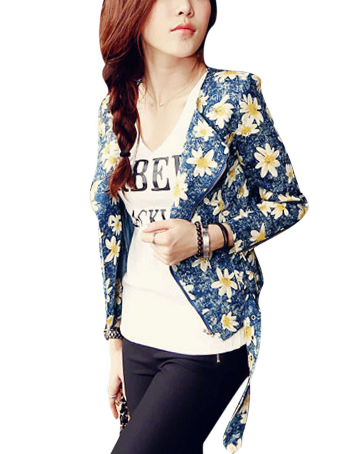 Lady Floral Pattern Zip Up Buckle Tab Front Casual Denim Jacket Dark Blue S