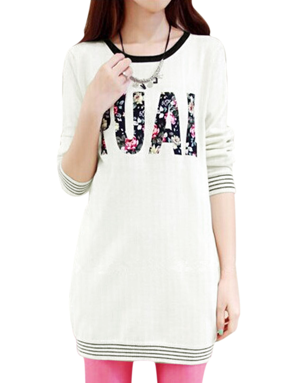 Lady Floral Letters Print Stripes Detail Round Neck Stylish Dress White XS