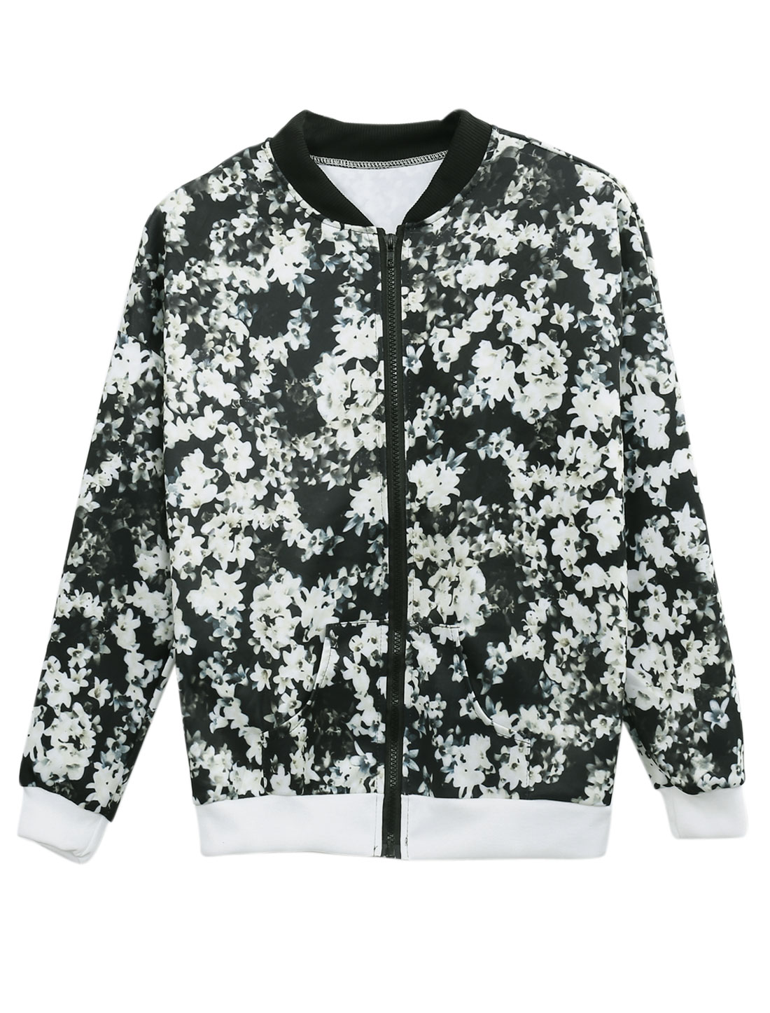 Women Floral Prints Zip Up Double Slant Pockets Casual Jacket Beige Black S