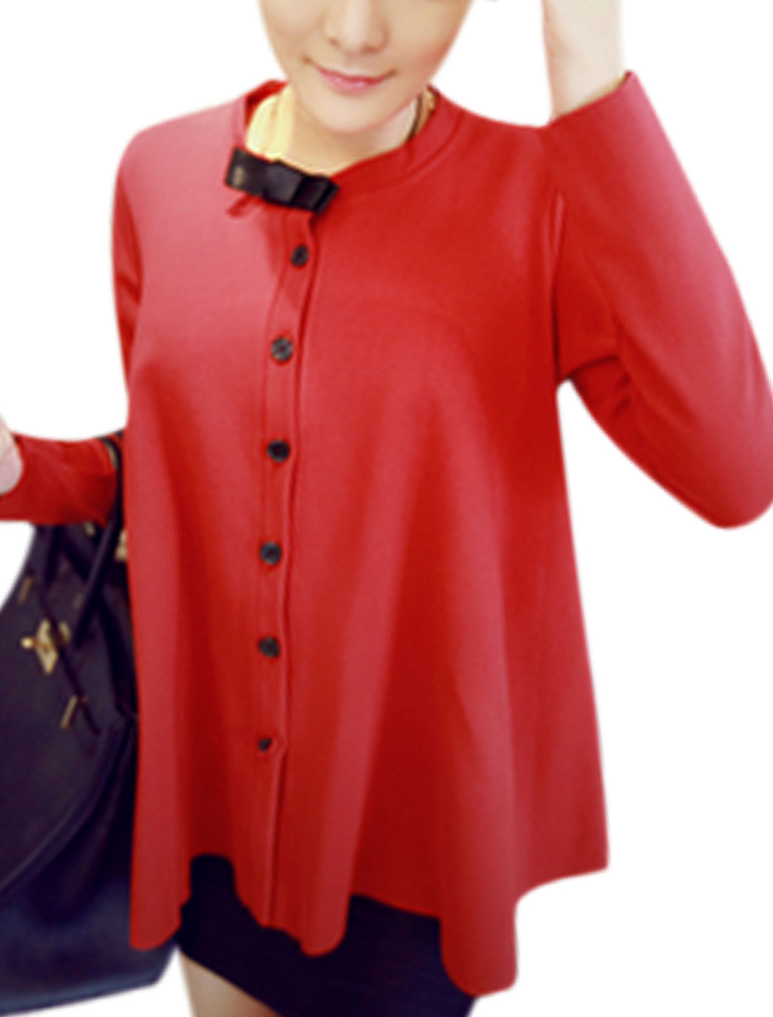 Lady Button Closure Front Long Sleeve Loose Light Jacket Red XS