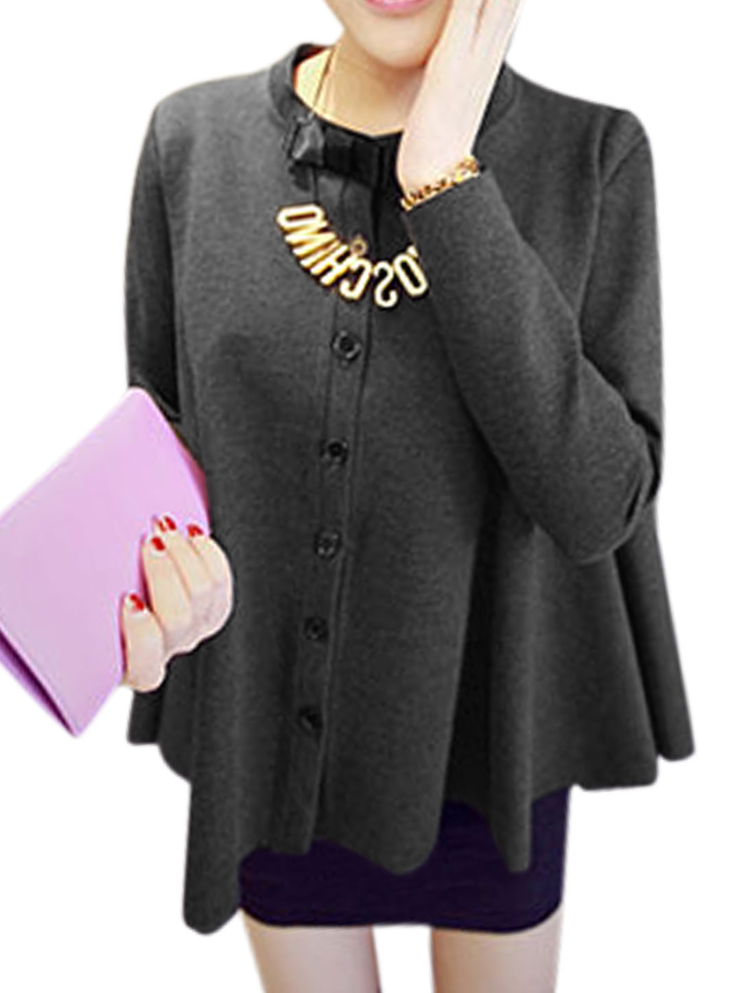 Women Sweet Style Single Breasted Loose Light Jacket Dark Gray XS