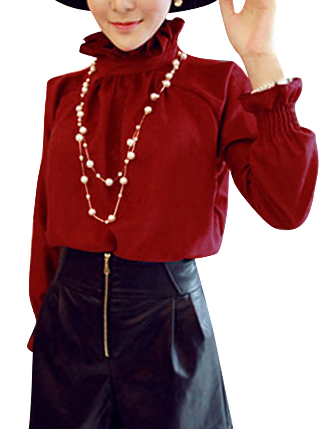 Lady Stand Collar One Button Close Back Casual Blouse Burgundy XS