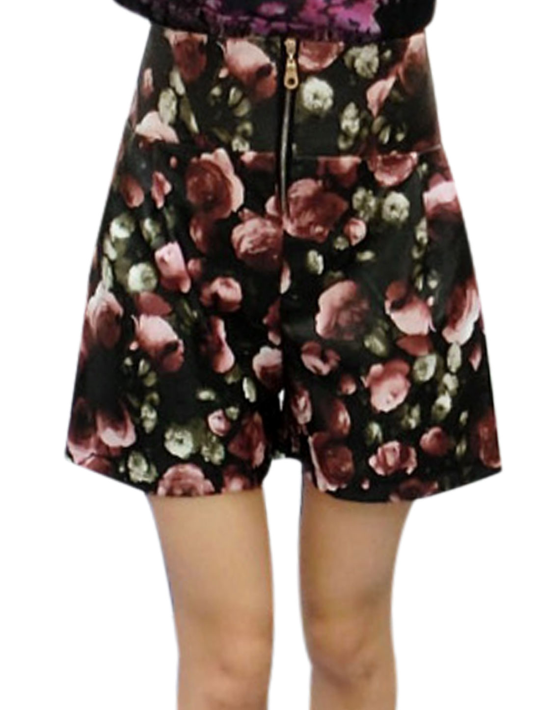 Women Fashion Zip Fly Floral Print Imitation Leather Shorts Black Pale Red M